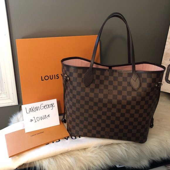 5bd0ebcf89ad Louis Vuitton neverfull mm damier ebene rose